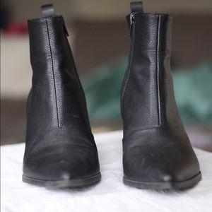 Black pointed toe booties